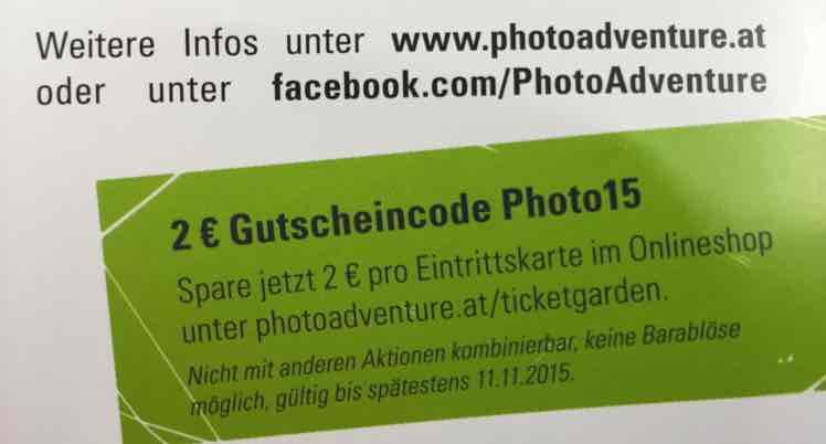 2€ Gutschein für Photo+Adventure 2015 Messe