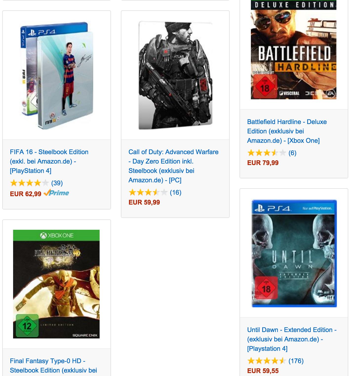 [Amazon.de] 3 Spiele ( Steelbooks) zum Preis von 2 ( PS4/ Xbox One) u.A FIFA 16, Until Dawn