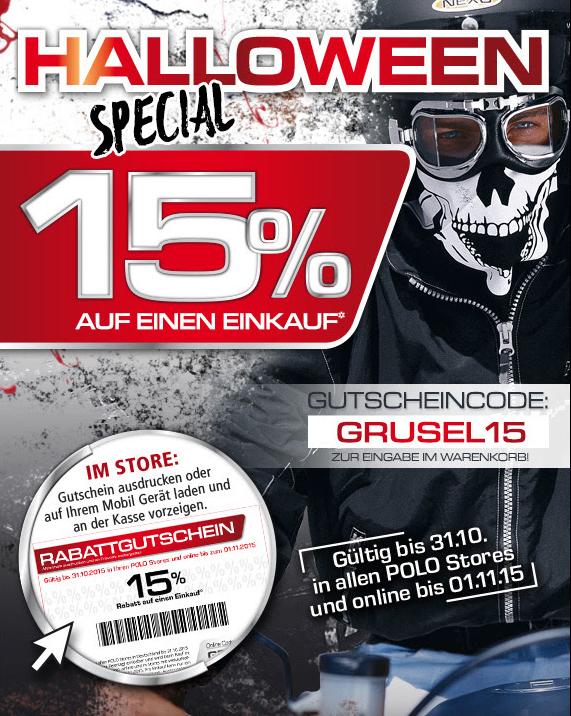 Polo Motorrad Halloween -15% Gutschein