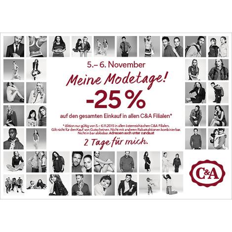 C&A: 25% Rabatt auf den gesamten Einkauf! - nur am 5. und 6. November