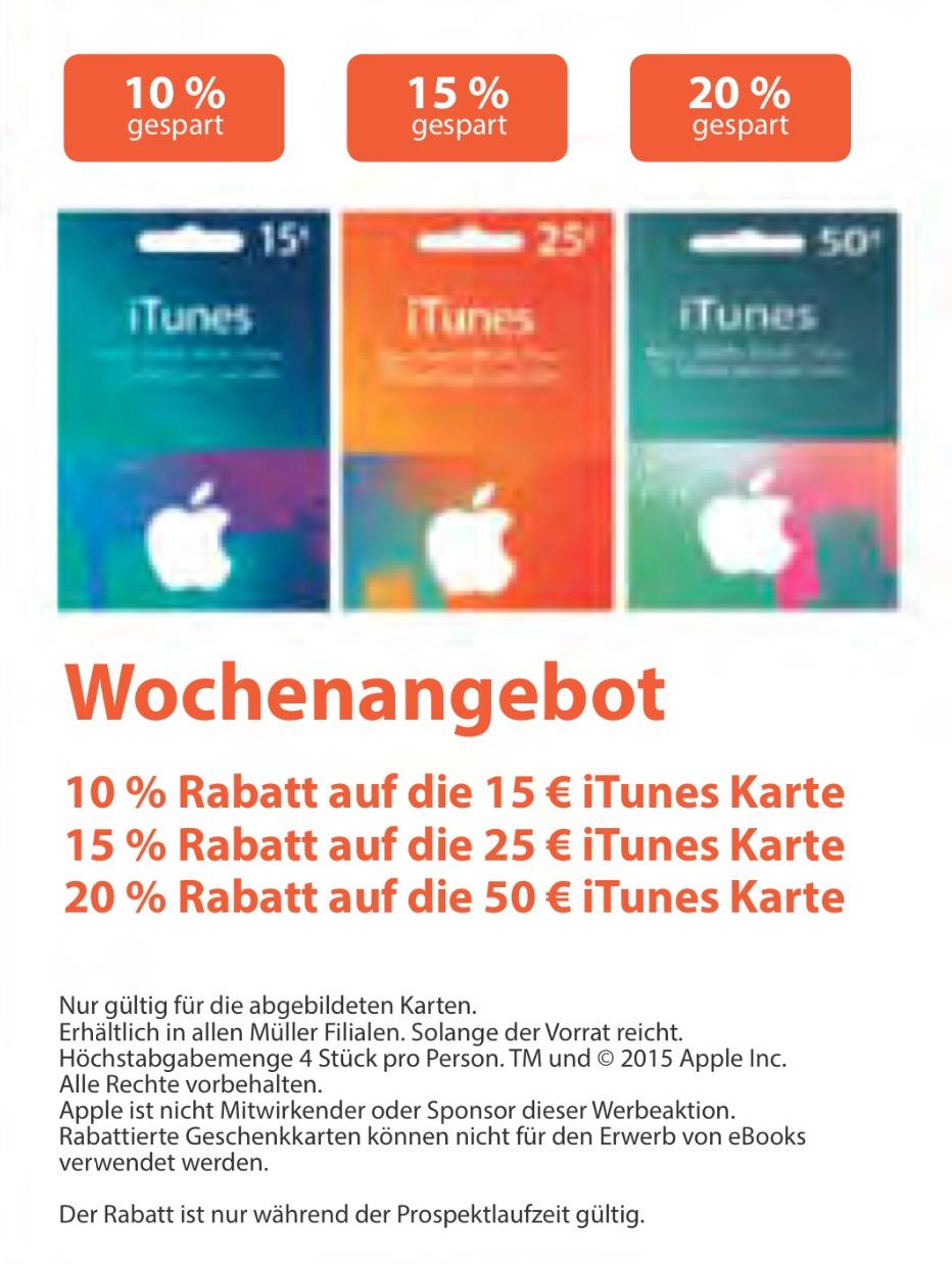 Müller: bis zu 20% Rabatt auf iTunes Karten (bis 10.11.2015)