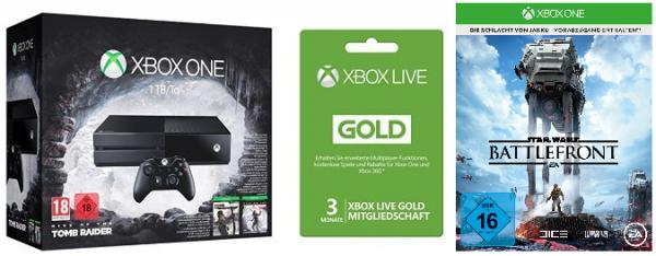 [Amazon] Top 1TB Xbox One Bundle mit Tomb Raider Bundle, SW Battlefront + 3M Xlive