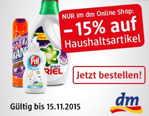 DM Online Shop: 15% Rabatt auf alle Haushaltsartikel - bis 15.11.2015