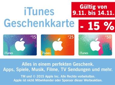 -15% auf iTunes Karten bei Lidl bis 14.11.2015