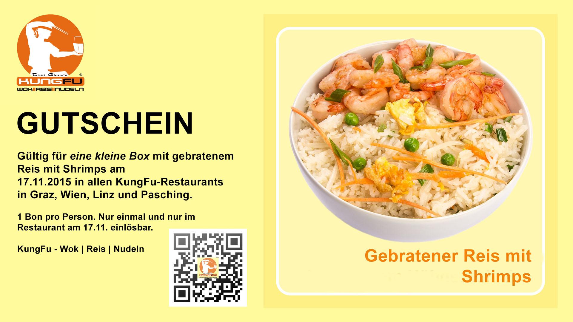 KungFu: Kleine Box gebratenen Reis mit Shrimps komplett kostenlos! - Nur am 17. November