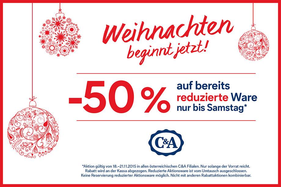 C&A: 50% Rabatt auf bereits reduzierte Ware - nur bis zum 21. November
