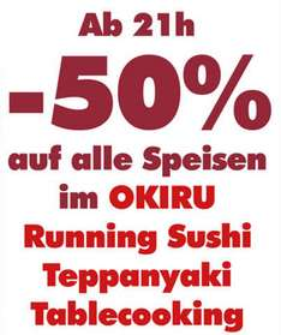 Okiru Running Sushi (Lugner City): -50% auf alle Speisen ab 21 Uhr