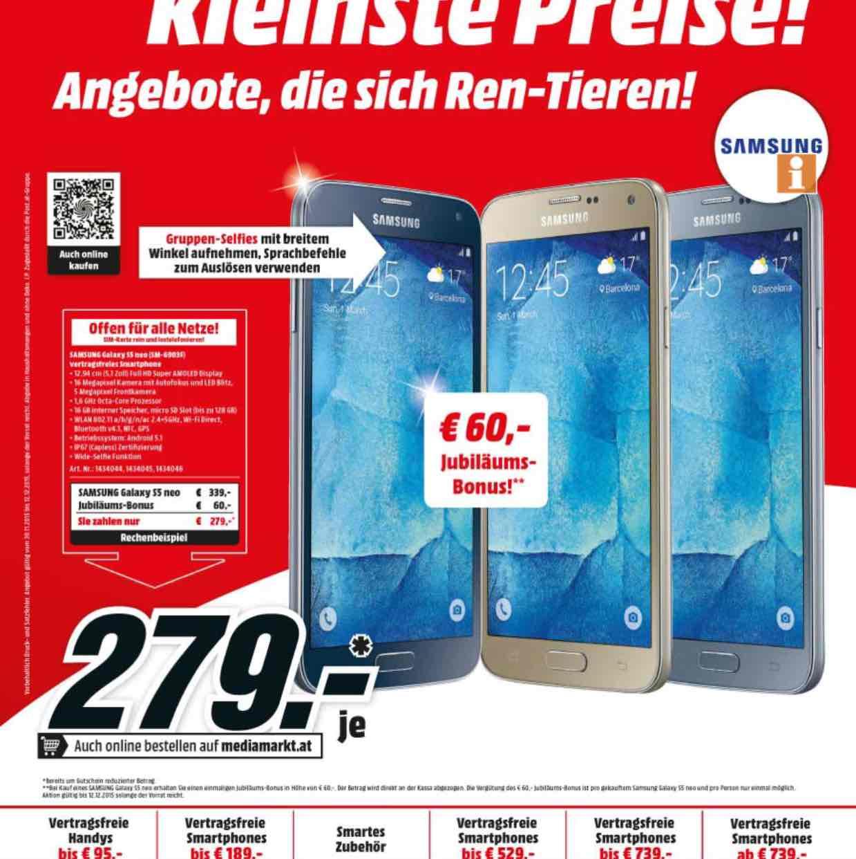 Media Markt - Samsung Galaxy S5 Neo um 279 €