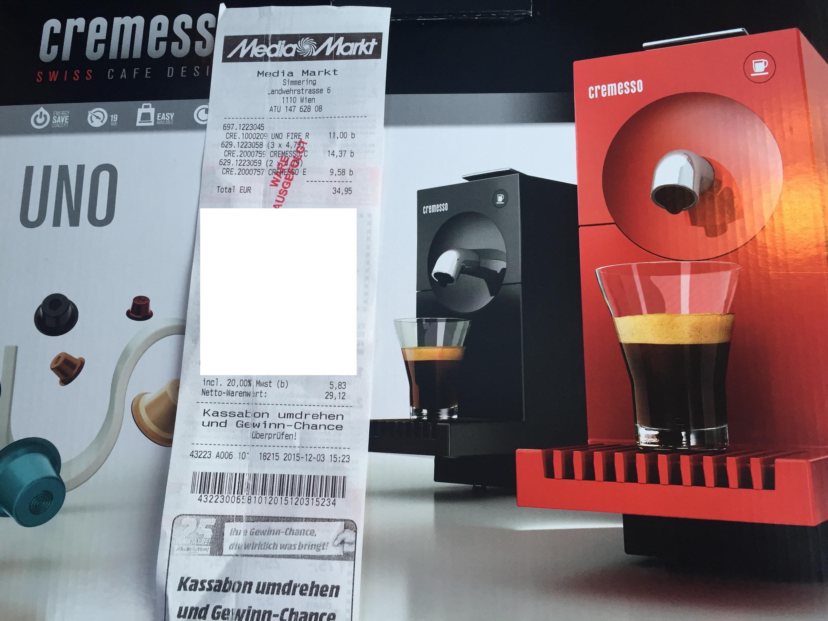 Media Mart Simmering - Cremesso Uno um 11 € - statt 39-48 €