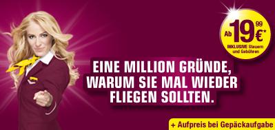 """Aktuelle Flugschnäppchen: Flüge bei Germanwings für 20€ und """"All you can fly"""" bei Condor für 299€"""