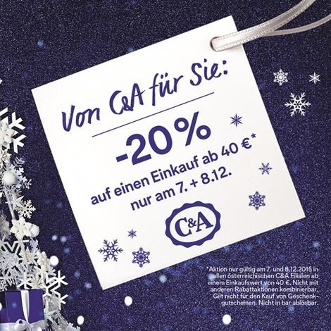 C&A: 20% Rabatt ab einem Einkauf von 40€ - nur am 7. und 8. Dezember