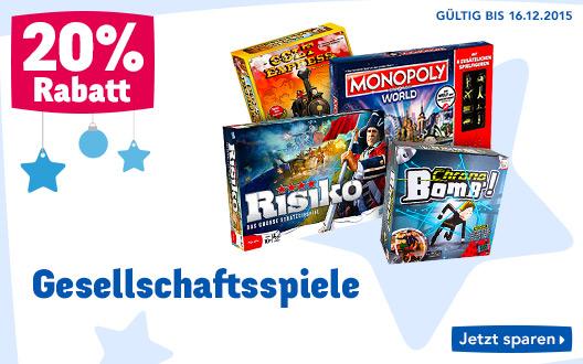 ToysRus: 20% Rabatt auf Gesellschaftsspiele - nur bis zum 16. Dezember
