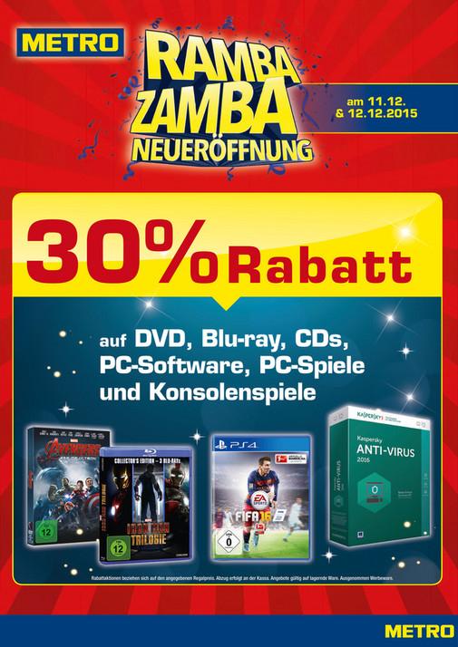 Metro Ramba-Zamba: 30% auf DVD, BD, CD, PC- sowie Konsolenspiele!