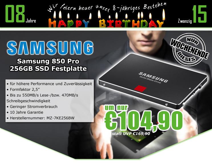 0815.at: Samsung SSD 850 Pro - interne SSD mit 256GB für 104,90€