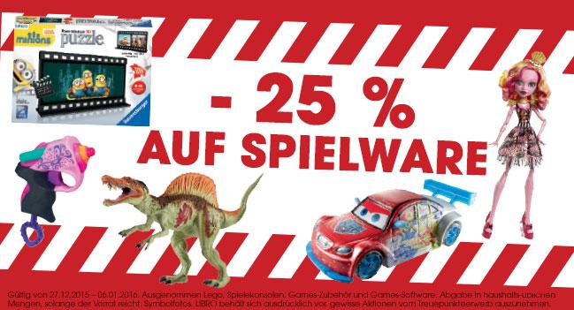 Libro: 25% Rabatt auf Spielware (exkl. Lego) - nur bis zum 6. Januar