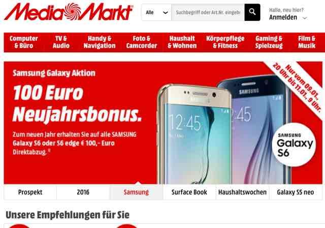100 Euro Neujahrsbonus für Samsung Galaxy S6 Smartphones
