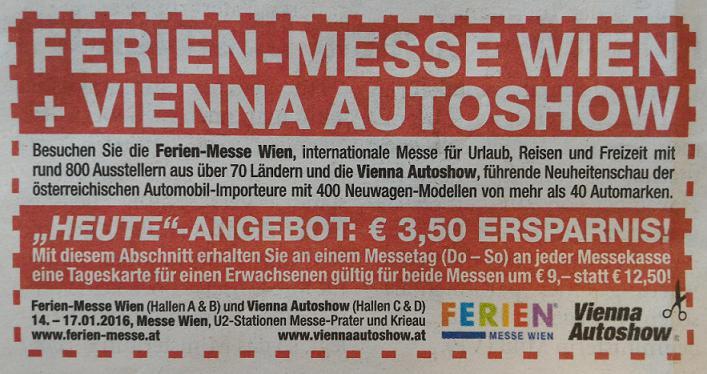Ferien Messe + Vienna Autoshow um 9€ statt 12,50€ (-28%)
