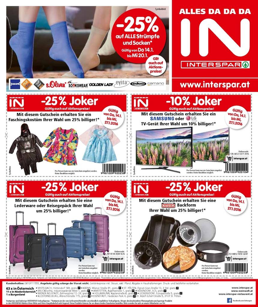 [Interspar] Joker Angebote - z.B. 25% auf Koffer und 10% auf Samsung / LG Fernseher