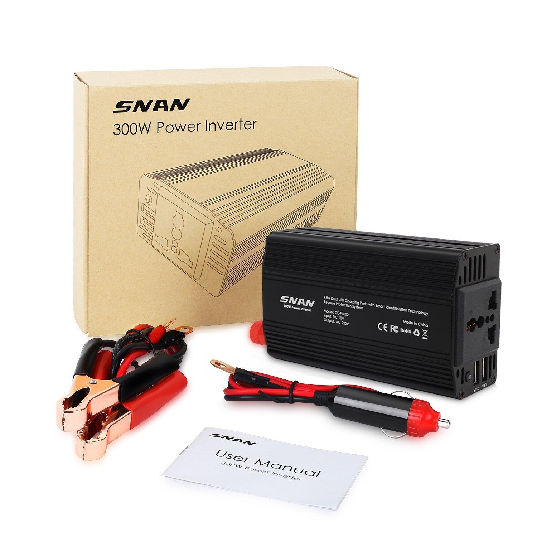 [AMAZON PRIME] Wechselrichter 300 Watt mit 2 USB Ausgängen und Batterie Klemmen für 26,99€