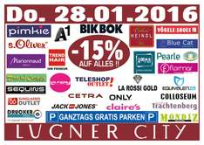 Lugner City: 15% Rabatt in vielen Shops + ganztags gratis Parken - nur am 28. Jänner