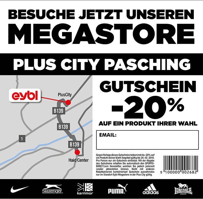 Gutschein -20% auf ein Produkt deiner Wahl! Einzulösen im eybl Megastore in der Plus City