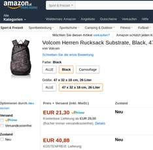 Volcom Herren Rucksack Substrate für nur 21,30€ (Idealo ab 40€)