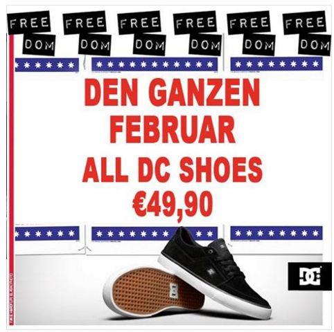 Freedom Skateshop im Februar alle DC Schuhe für 49,90€ inkl. Versand