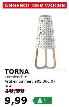 """IKEA Wien Vösendorf: """"Torna"""" Tischleuchte um 9,99 € - statt 49,99 €"""