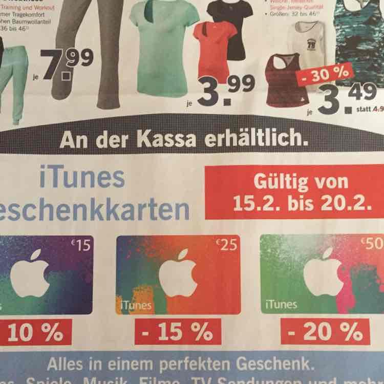 Lidl iTunes Geschenkkarten bis-20% von 15.02. bis 20.02.