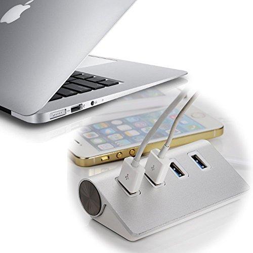 Aluminium 4 Port USB 3.0 HUB (Super Speed) bis zu 5Gb/s 4 Port Verteiler PC und MAC Notebook Laptop Tablet kein Treiber ohne Netzteil Plug & Play (amazon)