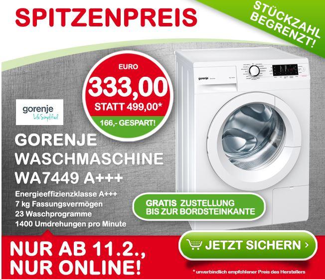 Interspar online/Saturn/MM: Gorenje Waschmaschine WA 7449 um 333,- inkl. Gratis-Lieferung