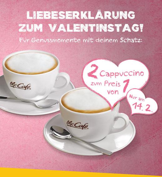 McCafe: 2 Cappuccino (regular) zum Preis von 1 - nur am 14. Februar