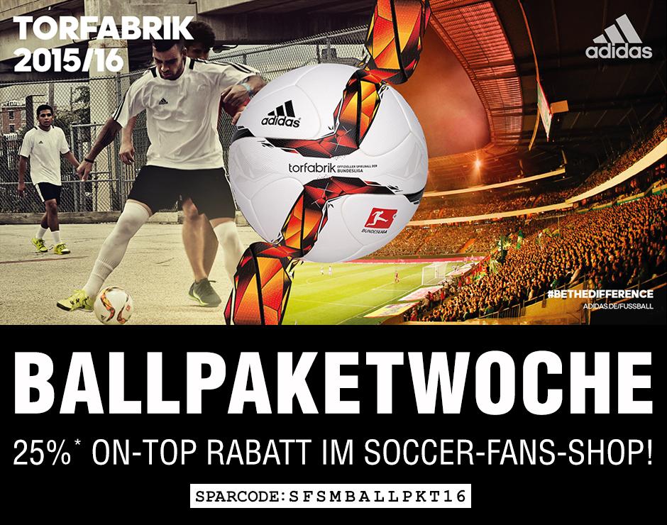 Ballpakete zum Tiefpreis (z.b. adidas Torfabrik 2015 OMB ab 49,37€) bei Soccer-Fans-Shop.de
