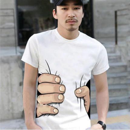 €4.63  für Männer  3D großer Handdruck Slimming-Rundhalsausschnitt mit kurzen Ärmeln  weißes T-Shirt