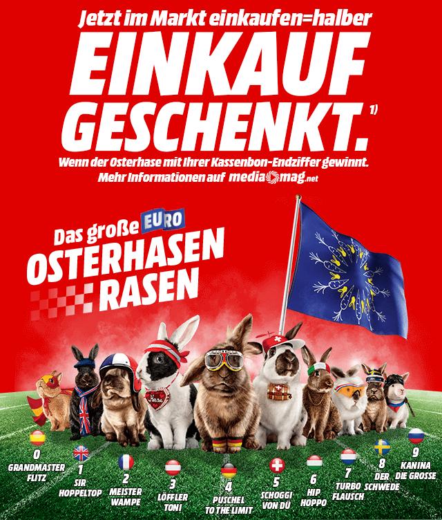 [MediaMarkt] Das große Euro Osterhasen-Rasen - Jeder 10. Einkauf gewinnt