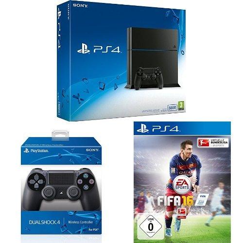 PS4 Bundle: PS4-Konsole + 2x DualShock 4 Controller + FIFA 16 für 368€ (~161€ Ersparnis)