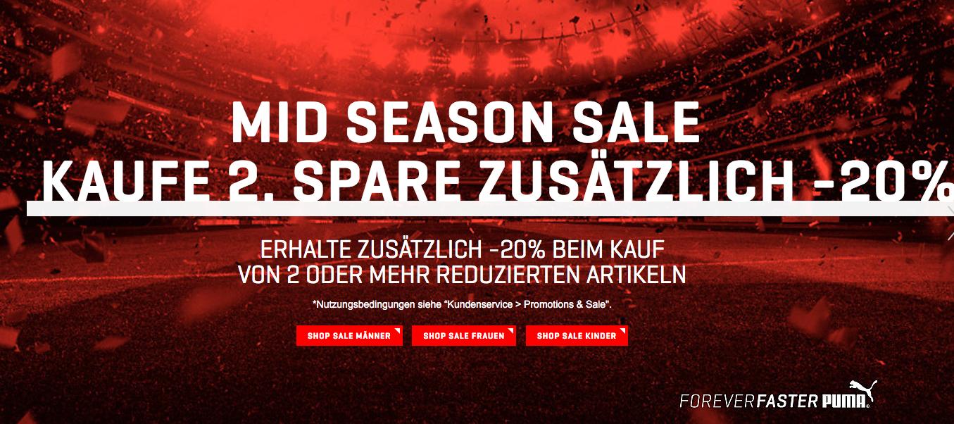 Puma: 20% Extra-Rabatt ab 2 bereits reduzierte Artikel - nur bis zum 10. April