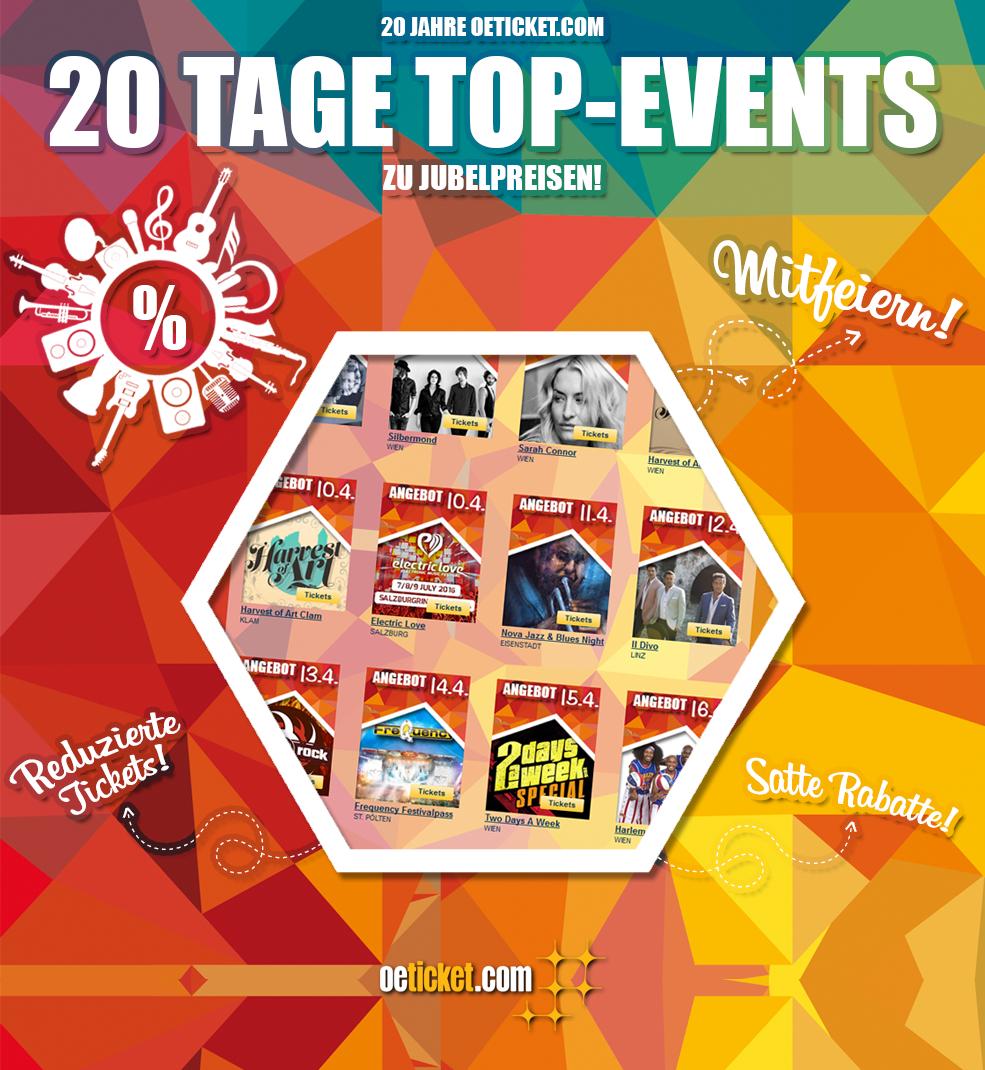 20 Jahre oeticket.com - 20 Tage Top-Events zu Jubelpreisen