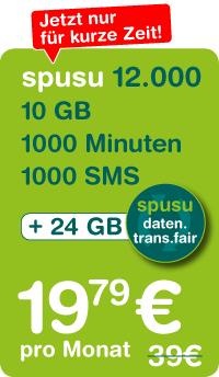 Spusu (0670): neuer XL-Daten-Tarif (10 GB, 1000 Min, 1000 SMS) um 19,79 €