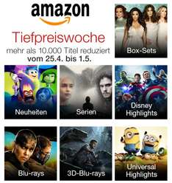 Tiefpreiswoche auf DVDs und Blu-rays (über 10.000 reduzierten Titel) s. Beispiele
