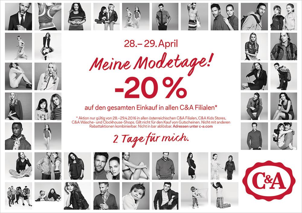 C&A Modetage: 20% Rabatt auf den kompletten Einkauf - nur am 28. und 29. April