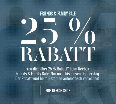 Reebok: 25% Rabatt auf den kompletten Einkauf - nur bis zum 28. April