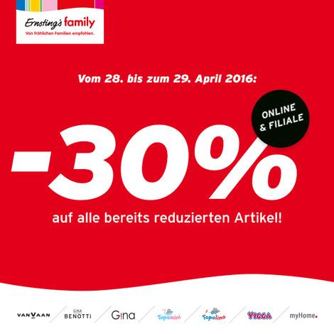 Ernsting's family: 30% Rabatt auf bereits reduzierte Ware - nur vom 28. bis zum 29. April