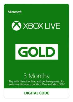 Amazon - XBox Live Gold (3 Monate) um 11,54 €