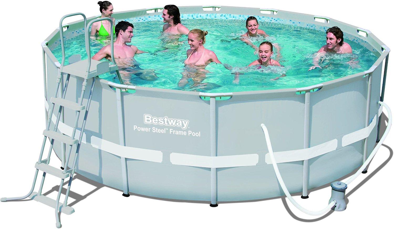 Bestway Frame Pool Power Steel Set, grau, 427 x 122 cm
