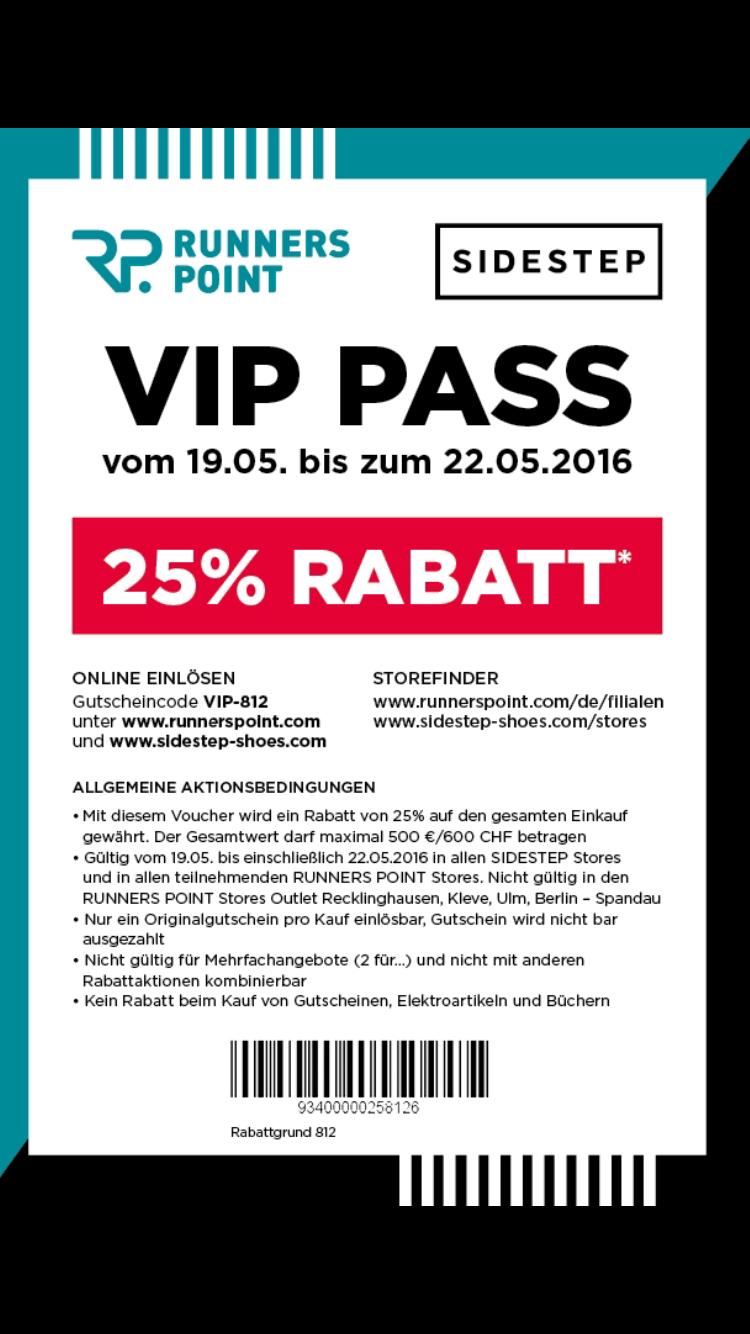 25% Gutscheincode für Runnerspoint und Sidestep!