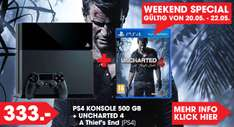PS4 Konsole 500 GB + Uncharted 4 um 333,-