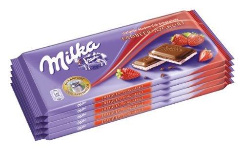 5er Pack Milka Erdbeer-Joghurt 0,62€ pro Tafel (Spar 0,89€)