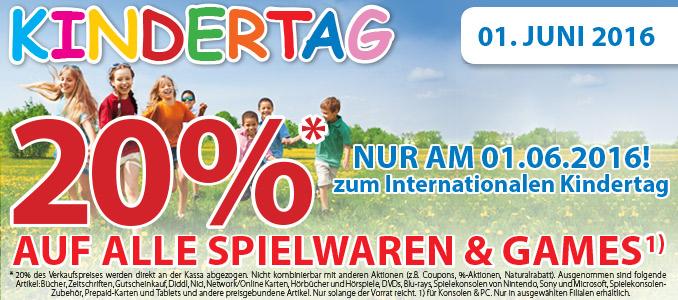 Müller: 20% Rabatt auf Spielwaren und Games - nur am 1. Juni