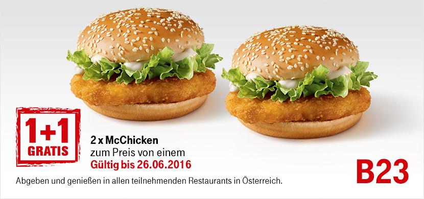 1+1 Gratis McChicken - Kinotickets 2,50€ Rabatt